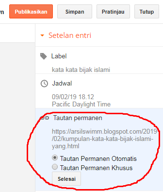 edit permalink blogspot status