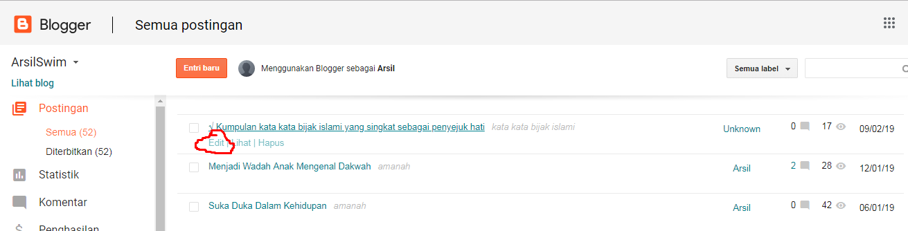 halaman posting blogspot