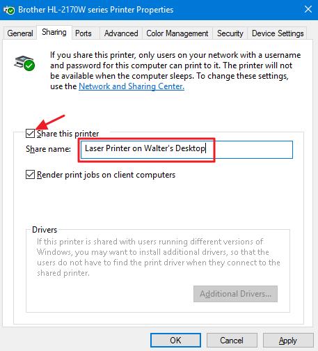 setting sharing printer