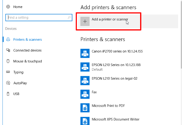 sharing printer - add printers & scanners