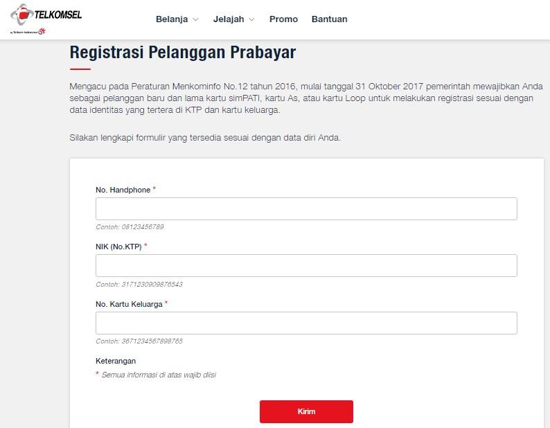 halaman registrasi kartu telkomsel via online