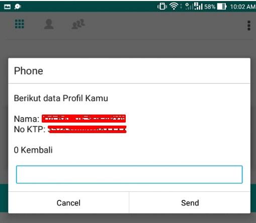 pesan sms gagal dial