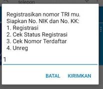 registrasi kartu 3 dial menu utama